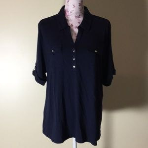 Croft & Barrow Blue Collared Top - Size 1X (New!)